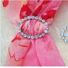 Rhinestone Scarf Ring Silver White Stones Oval Buckle Scarves Tudung