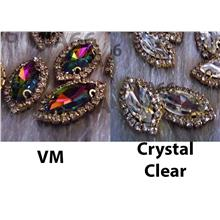 Navette Sew On Rhinestones VM n Crystal Clear DIY 4 hole Gold Beads
