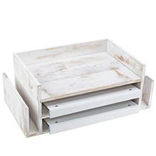 MyGift 3-Tier Shabby Whitewashed Wood Office Desktop Document Tray & Mail Sor