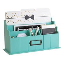 Blu Monaco Teal Wooden Mail Organizer - 3 Tier Teal Desk Organizer - Rustic Co