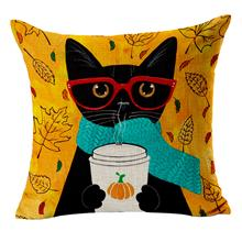 Printed Cat Family Pillow Case- 45*45cm