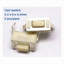 3.5 x 6 x 4.3mm Through Hole Tact 2-Pin Push Button Switch- 5 pcs/pack