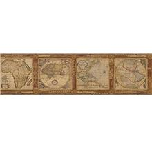Chesapeake MAN01832B Oliver Map Wallpaper Border, Burnt Sienna