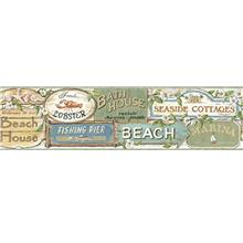 Chesapeake BBC46023B Captain Moss Seaside Signs Portrait Wallpaper Border, Blu