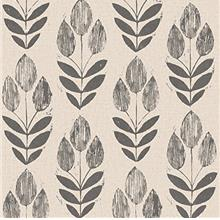 NuWallpaper NU2459 Folk Tulip Neutral Peel  & Stick Wallpaper
