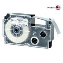 Casio Compatible Printer Label Tape Cartridge Clear 12mm ~ XR-12X