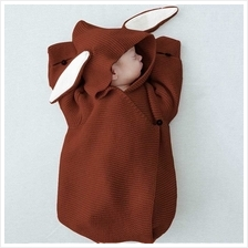 Newborn Baby Knitting Hooded Swaddle Rompers Bunny Ear Wraparound Sleeping Bag
