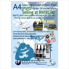 A4 Colour LASER / Inkjet printable White PVC sticker 20 sheets/pack