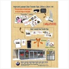 Inkjet and Laserjet Clear Transfer Tape  200cm x 24cm /roll