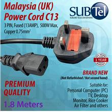 Malaysia Power Cord (UK) Fused 1.8 meters C13 cable for PC Desktop TV