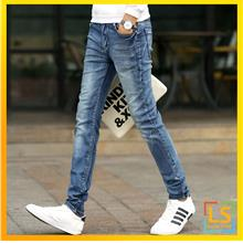 Men Classic Washed Jeans Straight Cut Slim Fit Skinny Jeans