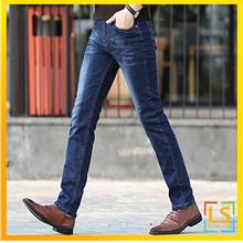 Men Classic Elastic Jeans Straight Cut Slim Fit Jeans for Casual Wear