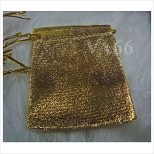 DIY Fabric Gift Pouch Bling Gold Tie String top 8p Gift 90mm x 75mm