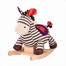 B. toys by Battat Kazoo Wooden Rocking Zebra – Rodeo Rocker – Plush Ride O