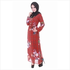 Muslimah Flora Chiffon Dress - Maroon