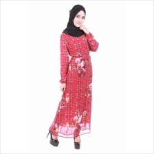 Muslimah Flora Chiffon Dress - Red