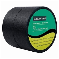 Cocoboo 2 Rolls Black Masking Tape Crepe Paper Painters Tape, 2 Inches x 60 Ya