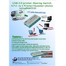 USB 2.0 printer Sharing Switch  4 P.C .to 1 Printer/Scanner  ( Auto  )
