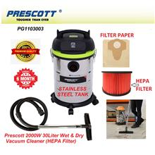 Prescott 2000W 30Litre (3-Mode) Wet, Dry & Blow Vacuum Cleaner