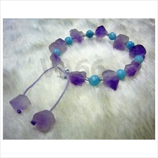 Raw Amethyst Aquamarine Healing Gemstone Bracelet Adjustable String