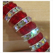18K Rhodium Plated Red Diamond Swarovski Crystal Bracelet