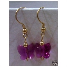 14K Gold Filled Swarovski Crystal Earrings Butterfly 12 Colour Choices