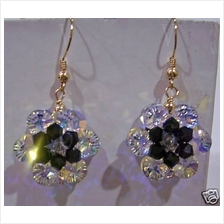 14K Gold Swarovski Crystal Flower Motif Earrings 24 Colour Choices