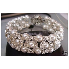 27 Colour Choices 18KGP Diamond Swarovski Pearl Bracelet 6mm