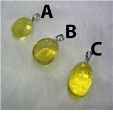 Natural Yellow Lemon Quartz Gemstone Pendant Chunky Puffy Locket 3