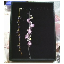 Black Jewellery Bracelet Display Velvet Box Hooks