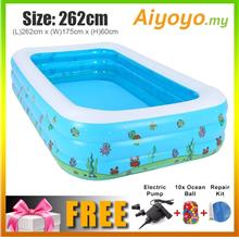 (L) 262 x (W) 175 x (H) 60cm Inflatable 3 Rings Swimming Pool Family C