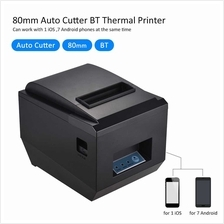 80mm BT Thermal Receipt Kitchen Printer Auto Cutter Compatible with ESC/POS Co