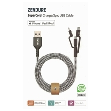 Zendure SuperCord 3-in-1 USB to Micro-USB & Lightning & USB-C Cable 1m