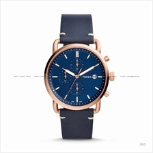 FOSSIL FS5404 Men's The Commuter Chronograph Leather Strap Navy