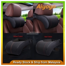 Adjustable PU Leather Headrest Pillow Car Seat Head Neck Rest Cushion Pad Cott