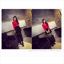 Fashionable Long Sleeve Red Blouse