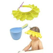 Silicone Baby Shower Cap with Baby Shampoo Rinse Cup Bath Set | Adjustable Bat