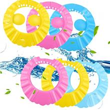 6 Pieces Baby Shower Cap Bathing Cap Adjustable Bathing Shampoo Hat with Ear P
