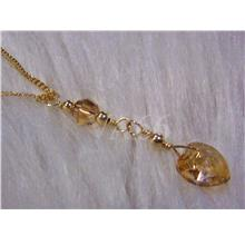 14K Gold Swarovski Crystal Necklace Suasa Wire Wrapped Col