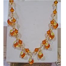 14K Gold Swarovski Necklace Suasa Heart n Bicone Topaz or Choose Cols