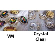 Oval Sew On Rhinestones Crystal Clear VM DIY Gold Montee Button Beads