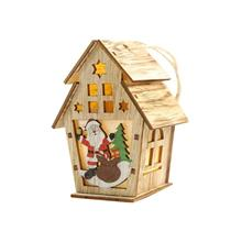 Christmas Luminous Wooden House with LEDs Light DIY Home Decoration