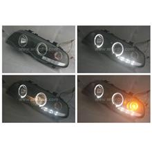 BMW E46 99-02 2 DOOR BLACK PROJECTOR HEADLAMP w RING