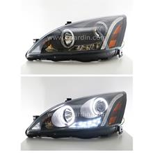 Honda Accord 03-07 Black Projector Head Lamp w Ring & LED