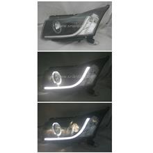 Chevrolet Cruze 08 Black Projector Headlamp with Ring & Bar