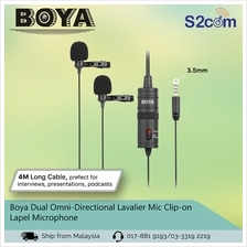 Boya Dual Omni-Directional Lavalier Mic Clip-on Lapel Microphone (BY-M