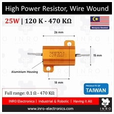 High Power Resistor, Wire Wound, 5% Tolerance, 25W [120K-470K]