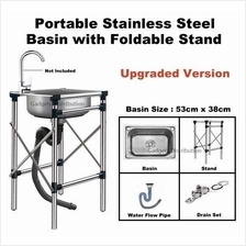 53*38cm UPGRADED 304 Stainless Steel Single Basin Sink Stand 2555.1