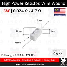 5W Cement Fixed Resistors, Axial type, 5% Tolerance, 0.024R - 4R7
