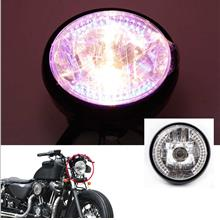 "7 "" Halo Motorcycle Headlight LED Turn Signal with H4 Bulb for Harley (Bl"